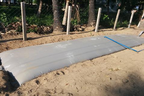 Biogas installation in India. Photo.