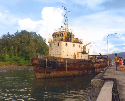 Old rusty ship. Photo.