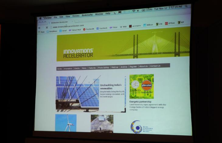 Screen image of the Innovations Accelerator website. Photo.
