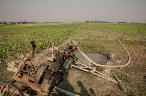 Old farming equipment next to a field. Photo.