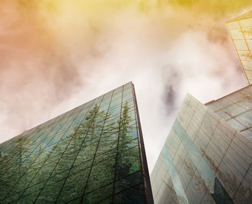 Modern buildings, trees reflecting in their glass fronts. Photo.