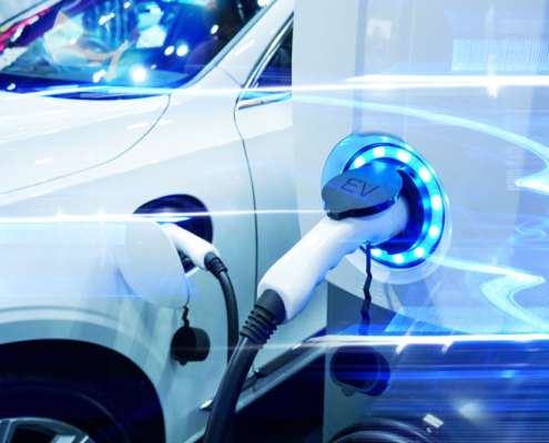 Electric car being charged. Photo.