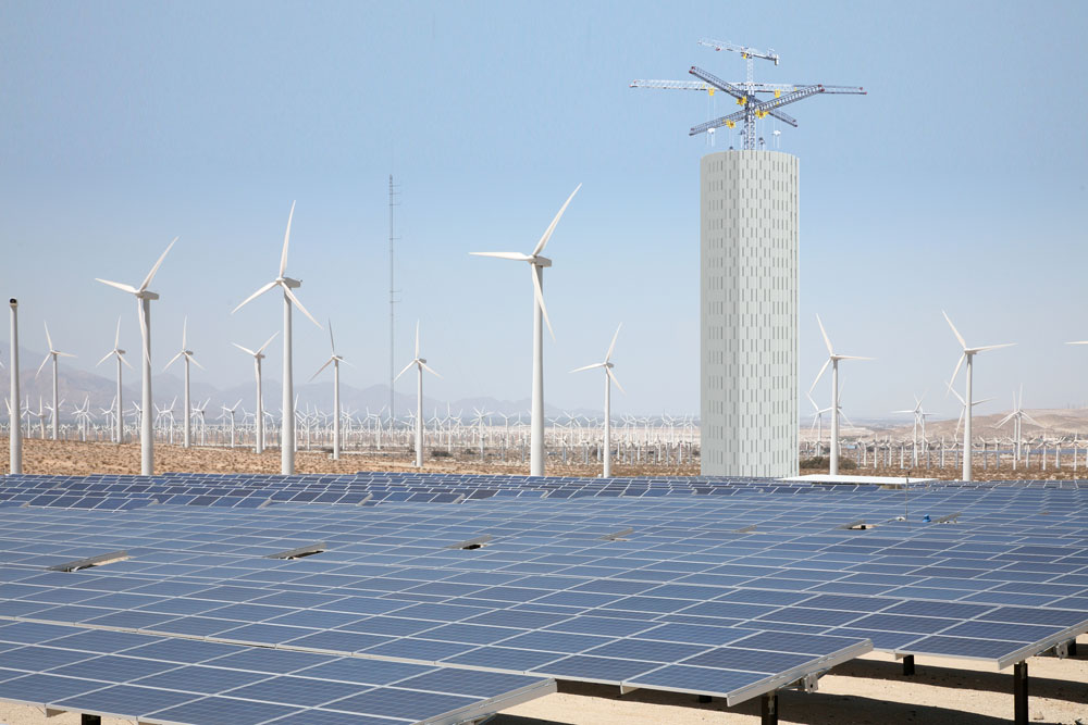Gravity storage plant next to solar panels and windmills. Illustration.