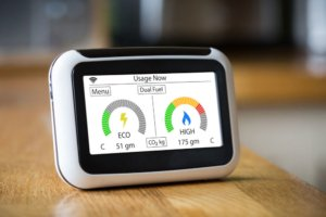 Smart meter with a digital display. Photo.