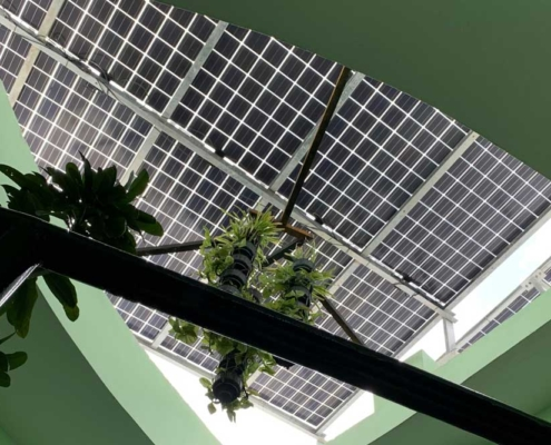 Solar panels and roof seen from underneath. Photo.