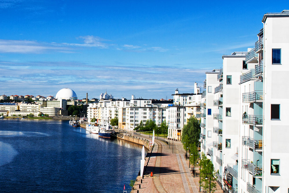 Modern apartment houses by the water in Stockholm. Photo.